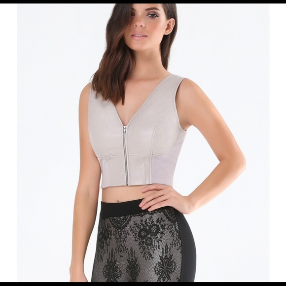 bebe Tops - Faux Leather Bebe Crop Top w/ Front Silver Zipper